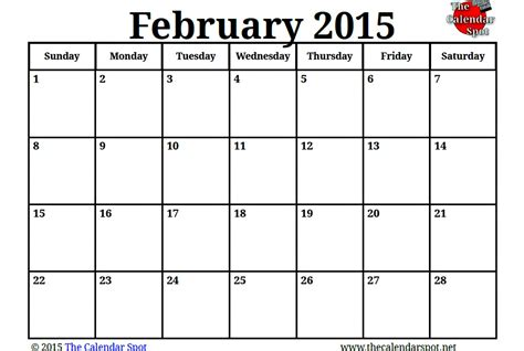 February 2015 Printable Calendar February 2016 Calendar Presidents Day 2017 Printable