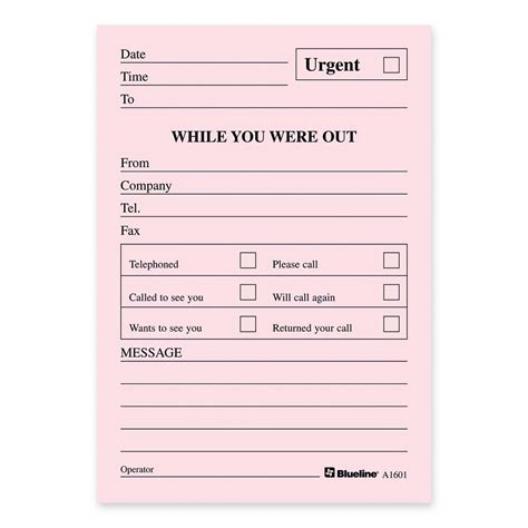 Template Message Pad Template Phone Message Template For Office