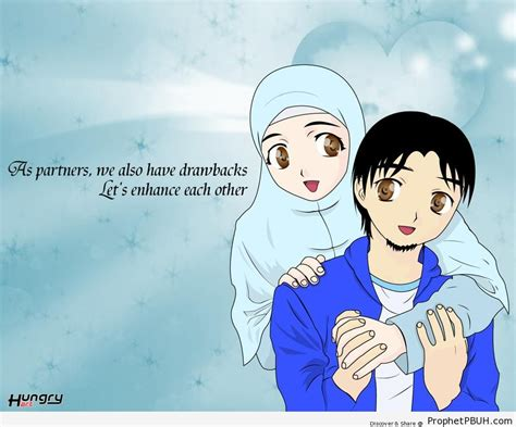 wallpaper gambar couple manga muslim couple drawings prophet pbuh peace be