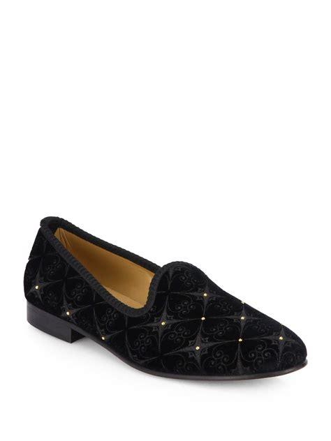 velvet slippers toro studded velvet prince slippers in black for