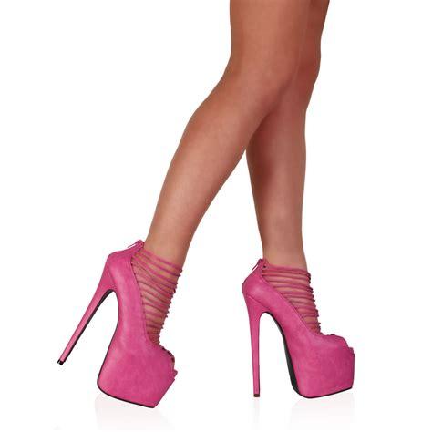 womens pink strappy 7 inch platform high heel