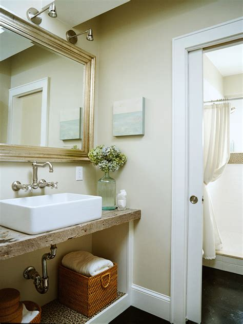barnwood bathroom ideas reclaimed wood vanity cottage bathroom bhg