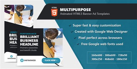 Animated Multipurpose Banner Ad Templates Html5 Gwd By Infiniweb Html5 Animated Website Templates