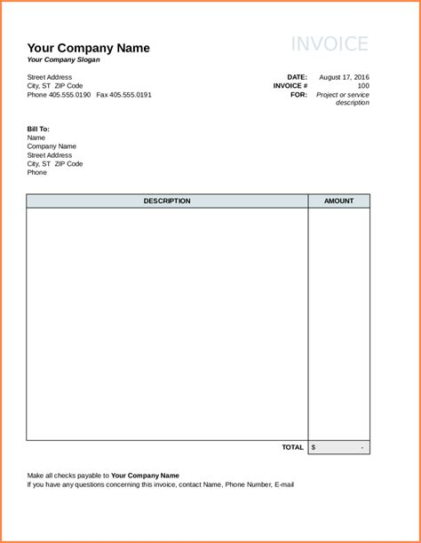 6 free blank invoice template word sles of invoices
