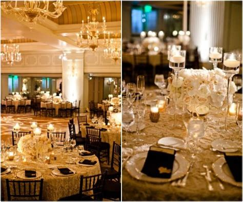 reception decor once wed elegant table settings gold cream gold centerpiece with candlelight deco inspired
