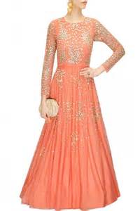 peach colour anarkali gown online shopping india panache
