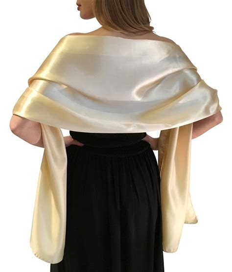 chagne gold satin wrap shawl wedding prom
