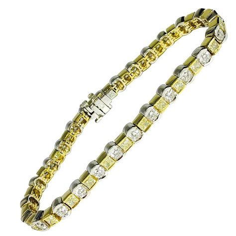 7 5 carats white and yellow diamonds gold tennis bracelet