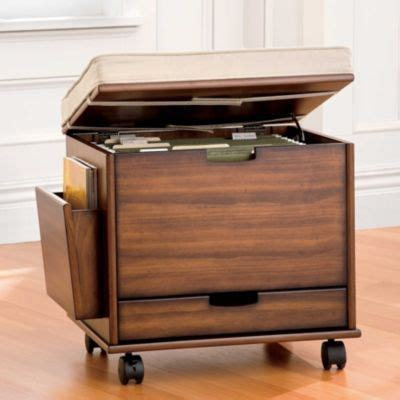 mobile file cabinet seat  cushion storage  small