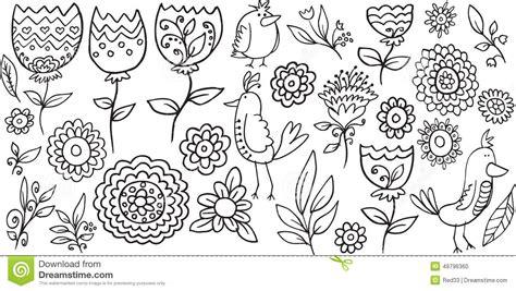 doodle bird free vector flower bird doodle vector stock vector image 49796360