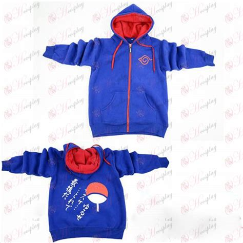 Sweater Narutojaketzipperhoodie konoha logo zipper hoodie blue sweater