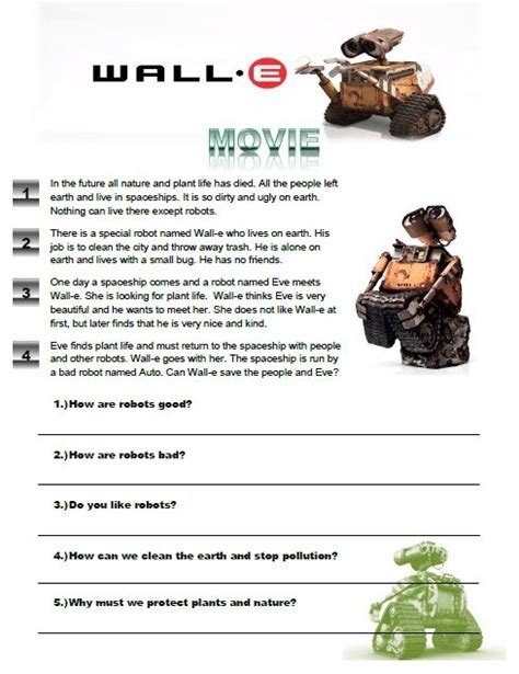 up film worksheet wall e movie worksheet great for young learners check it