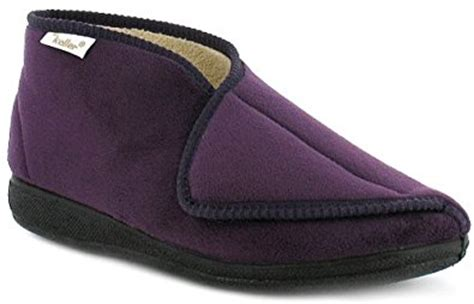 velcro slippers for the elderly womens purple soft velour velcro fastening bootee