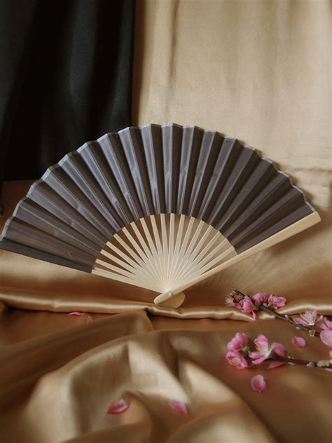 Handmade Fans For Weddings - 9 quot gray grey folding silk fan for weddings