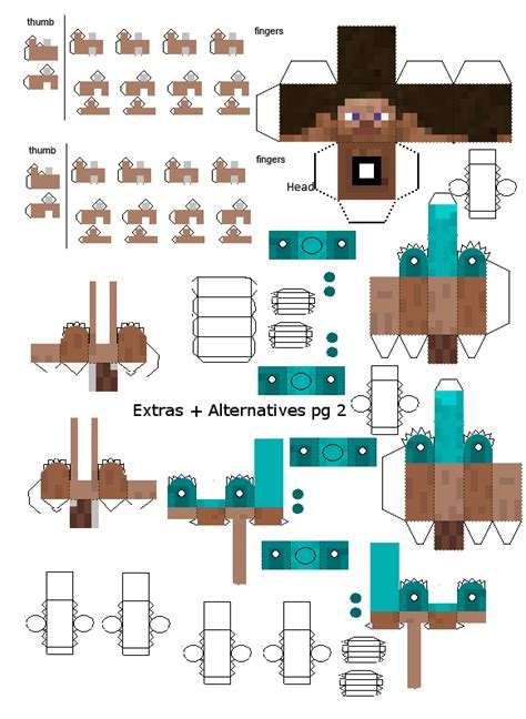 How To Make Papercraft Minecraft - advanced steve papercraft extras 2 by frownieman on deviantart