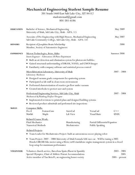mechanical engineering student resume resume format in engineering