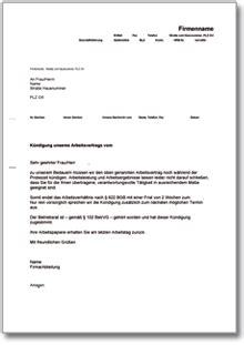 Vorlage Kündigung Arbeitsvertrag Arbeitgeber Probezeit K 252 Ndigung Arbeitsvertrag De Musterbrief