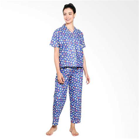 Setelan Baju Celana Tidur Panjang Piyama Wanita Katun Jepang Import jual zone sport car setelan baju tidur wanita blue harga kualitas terjamin blibli