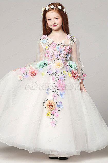 edressit floral long wedding flower girl dress