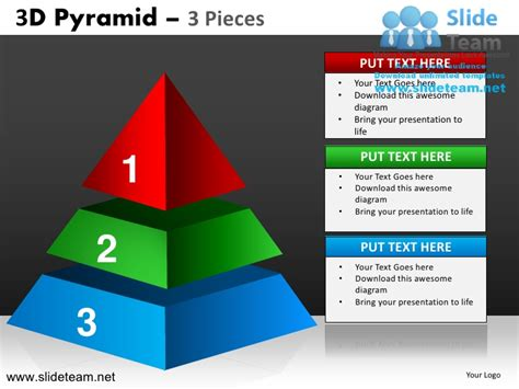 3d Pyramid Stacked Shapes Chart 3 Pieces Powerpoint Ppt 3d Pyramid In Powerpoint