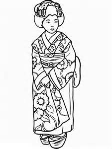 beautiful geisha wearing kimono coloring page netart