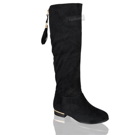 womens knee high faux suede flat winter buckle boots black womens ladies smart winter faux suede flat tassel knee