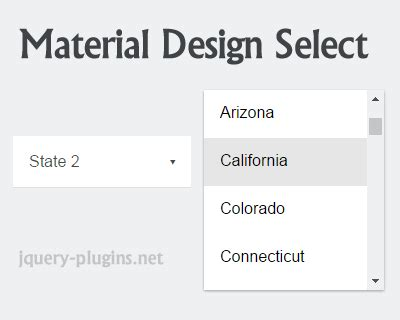 material design menu jquery material design select with jquery jquery plugins