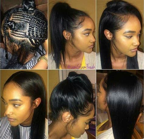 ways you can put braid weave in a donut bun versatile sew in braid pattern hair styles