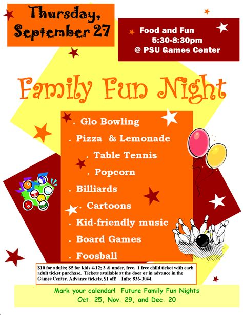 family fun night level 1 game center plaster student