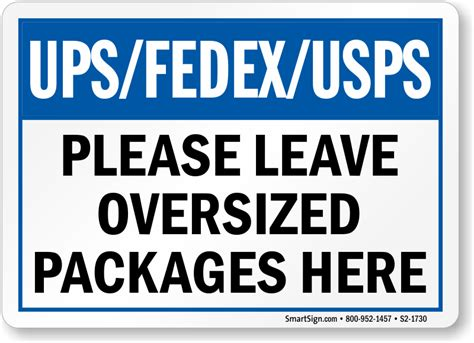 Fedex Left At Front Door Package Delivery Signs Leave Package Signs