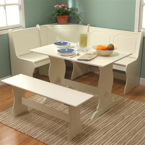 white breakfast nook 3 piece antique white kitchen dining breakfast room set