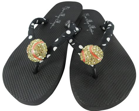 Design Your Own Sandals by Design Your Own Softball Rhinestone Bling Flip Flops