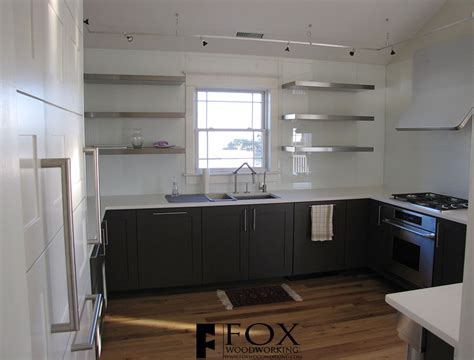 glass kitchen shelves white glass backsplash and ss shelves fox woodworking