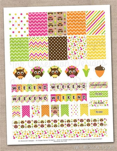 printable owl stickers thanksgiving owls planner stickers set instant download