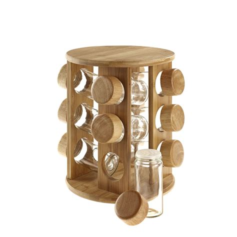 Rotating Spice Organizer Wooden Rotating Revolving Bamboo Spice Rack Glass Jars