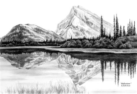 Landscape Drawing Reflections Mountain Landscape Print By Kelli Swan