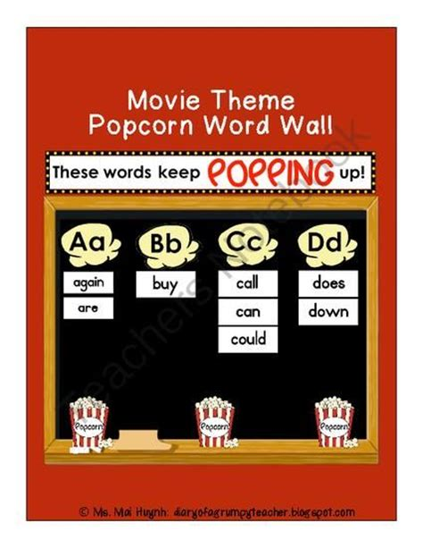 themes in an education the movie popcorn words movie themes and word walls on pinterest