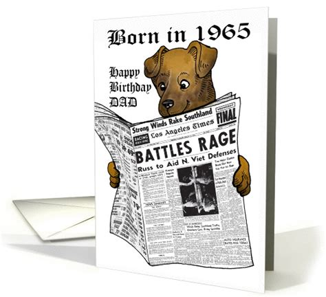 Newspaper Birthday Card Born In 1965 Newspaper With Dog Reading For Dad Card 376270