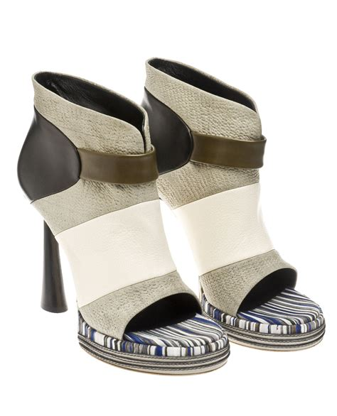 Sniff Grey Platform by Balenciaga Open Toe Ankle Boots With Sculpted Heel In
