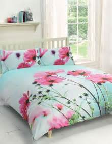 Poppy Comforter Set Poppy Floral Pink Duck Egg Blue King Size Cotton Blend