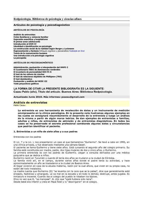 preguntas basicas para hacer un informe calam 233 o art cazau psicologia psicodiagnostico