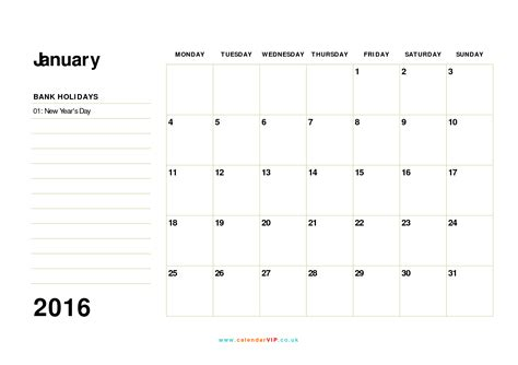 printable calendars uk 2016 january 2016 calendar free monthly calendar templates for uk