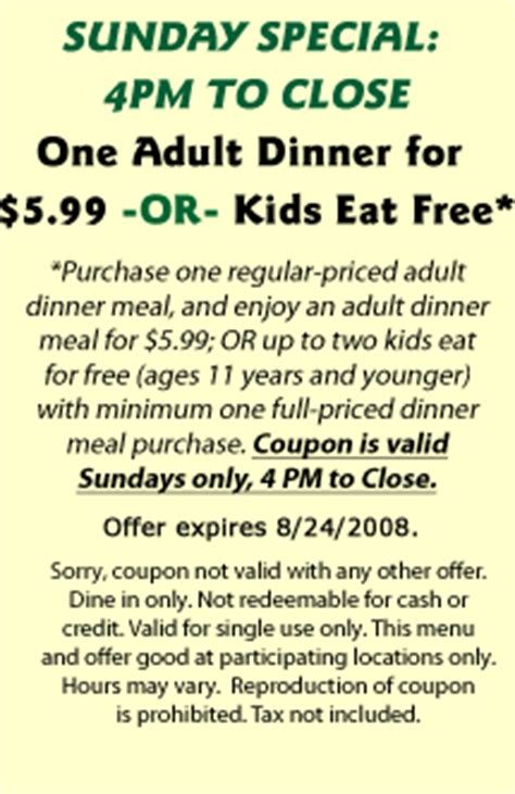 free restaurant printable coupons fast food restaurant