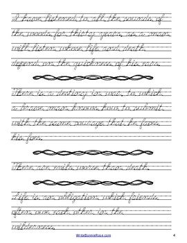 Selected American Authors Cursive Copywork by