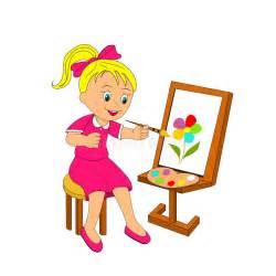 gestell zum malen m 228 dchen malt blume auf einem gestell vektor abbildung