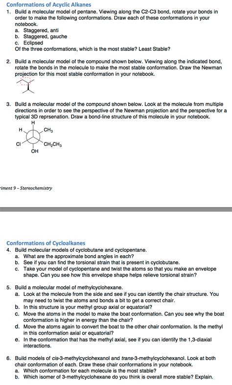 7 I Would To See In A Bond by Solved Conformations Of Acyclic Alkanes Build A Molecular