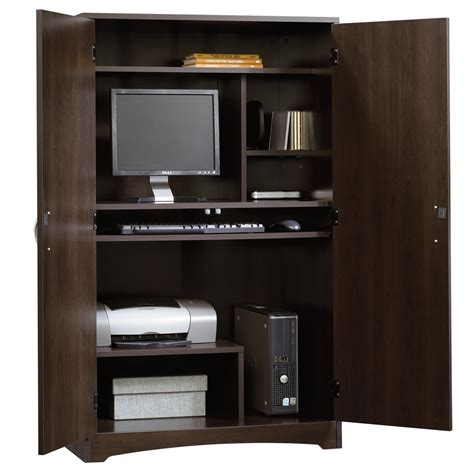 sauder beginnings computer desk cinnamon cherry finish computer armoire desk really great comer for home office