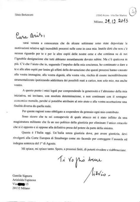 Lettera Di Presentazione Per Banca by La Lettera Di Berlusconi Alle Olgettine Quot Ora Basta Soldi