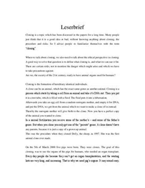 Leserbrief Schreiben Muster Genetic Engineering Englisch Leserbrief Schulhilfe De