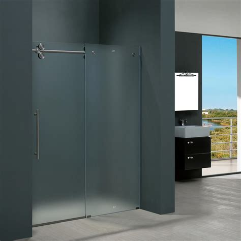 stainless steel shower doors vigo elan 60 in x 74 in frameless bypass shower door in stainless steel with frosted glass